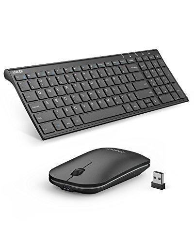 Anker Wireless Tastatur Maus Set 2.4Hz Ultra Dünne Kabellos Aufladbar (1 Akkuladung läuft 3 Monate lang) Tastatur (QWERTZ, Deutsches Layout) und Maus für Laptop PC Tablet und Smart TV (Schwarz)