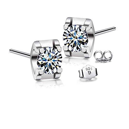 T400 Jewelers 925 Sterling Silber Würfelform Swarovski Zirkonia klar Ohrstecker,Geschenke für Frauen Mädchen Tochter