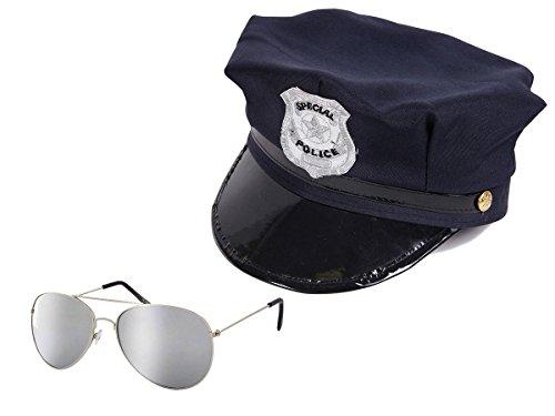 Alsino Polizei Kostüm Outfit mit Pilotenbrille & Polizei Hut (Kv-13) - für Jugendliche & Erwachsene (Cop Kostüme Für Jugendliche)