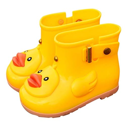 Infant Toddler Wellies Children Rain Boots UFO Duck Waterproof Rubber Rain Shoes Warm Liner Sock Kids Boys Girls