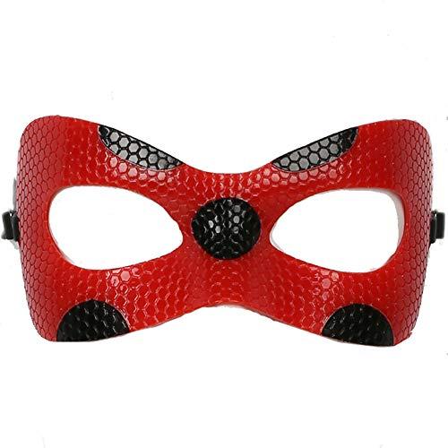 Mesky Kinder Maske Halloween Mask Leder Maske Augen Maske für Party aus Miraculous Ladybug Rot Marinette Elastisch Leicht Bequem Stabil Comic Film Zubehör