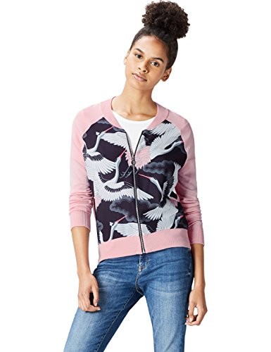 FIND Jacke Damen Bomberjacke mit Vogel-Print und Rippenbündchen Rosa (Pink), 44 (Herstellergröße: XX-Large)