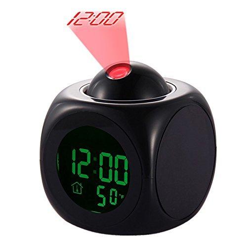 LED Despertador de Proyección Pantalla Digital de Temperatura Multifunción Projector Alarm Clock Multi-function Digital Temperature Sonido Projection Reloj 12 24 Horas Conmutado Hogar Decorativo