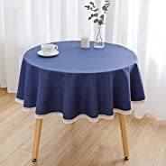 Solid Color Washable Table Cover,Dust-proof Home Kitchen Dinning Tabletop Fabric,Round Cotton Linen Tablecloth