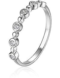 Jewelrypalace Zirconia Cúbico Banda de Boda Eternidad Anillo Plata de Ley 925