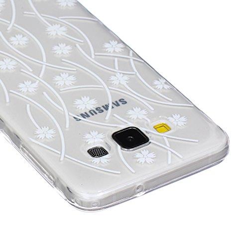 SainCat Coque Housse pour Samsung Galaxy A3(2015),Transparent Coque Silicone Etui Housse, Galaxy A3 Silicone Case Soft Gel Cover Anti-Scratch Transparent Case TPU Cover,Fonction Support Protection Com flocon de neige