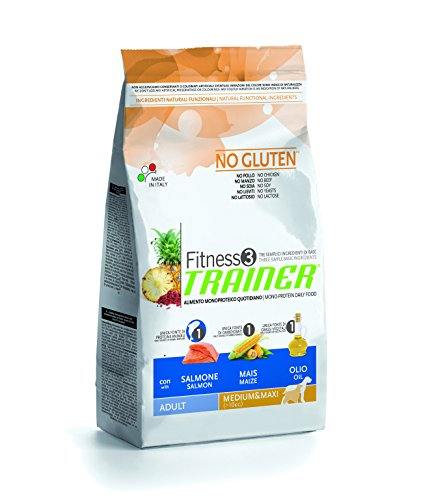 Trainer Natural NovaFoods Cibo per Cani Fitness 3 Adult Medium Maxi Salmon&Maize 12,5KG - 12500 gr