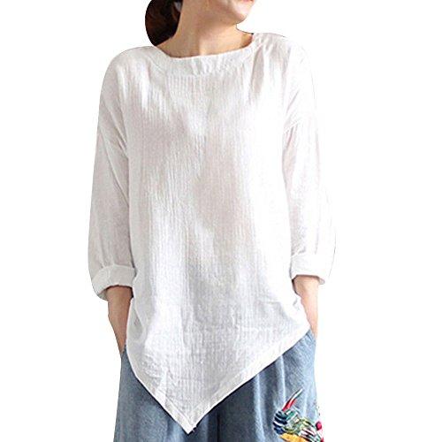 MRULIC Damen Leinen Gemütlich Leinen Dünnschnitt Lose langärmelige Bluse T-Shirt Pullover(Y2-Weiß,EU-42/CN-L)