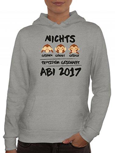 Abschluss Abitur Damen Kapuzenpullover mit Abi 2017 - Nichts gesehen, gehört, gesagt Graumeliert