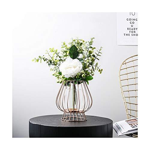 Nwn Nordische Mode licht Gold schmiedeeisen Glas kerzenständer Blume Stand Designer künstliche floral Set tischdekoration (Color : B)