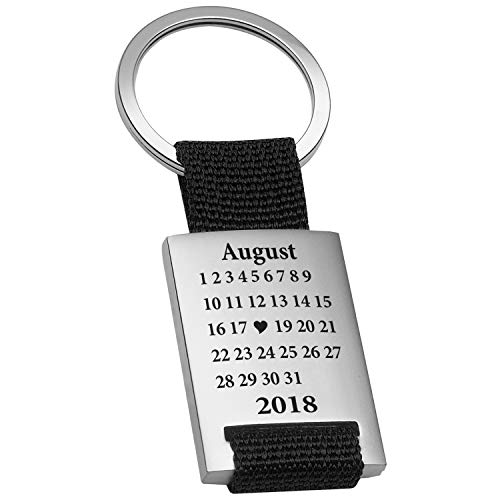 Schlüsselanhänger Schönster Tag mit Gravur Datum - Ich Liebe Dich Geschenk für Freund, Freundin, Männer, Frauen