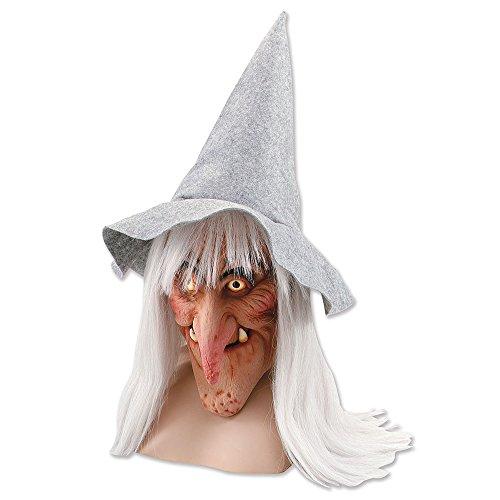 Bristol Novelty BM200Hexe Maske Hut Und Haar, grau, one size