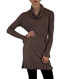 S&LU Damen Strickkleid moderner Schalkragen mit KASCHMIR und Gürtel