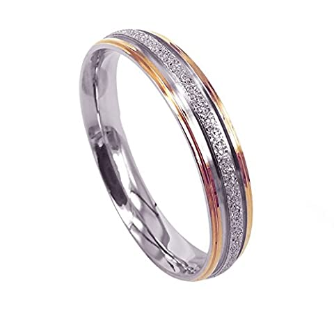 Everstone Women Wedding Band Titanium Ring Dome Shape Anniversary Ring Two Tone Gold and Silver Valentine's Day Gift 4mm Size