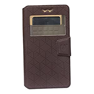 Jo Jo Cover Toto Series Leather Pouch Flip Case With Silicon Holder For Datawind PocketSurfer3G5 Coffee