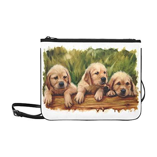 Drei Welpen Hundeliebhaber Lab Goldene Benutzerdefinierte hochwertige Nylon Slim Clutch Crossbody Tasche Umhängetasche -
