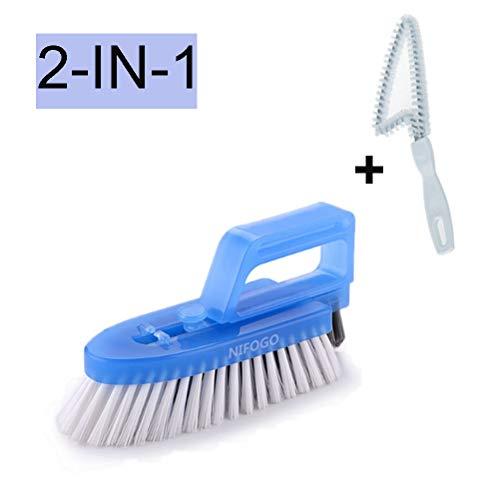 Nifogo spazzole per pulire piastrelle smontabile - spazzola per fughe tra le piastrelle in bagno/cucina e per vari usi domestici, 3 spazzole incluse (blu)