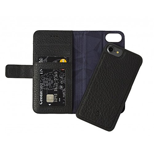 DECODED Wallet Case magnétique en Cuir pour iPhone 7 Noir Noir