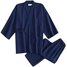 YTFOPLK Batas De Kimono Negras para Pijamas De Algodón Masculinos Conjuntos Batas De Sauna Japonesas para