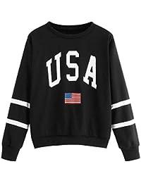 b200fdf9ed8142 GreatestPAK Damen Pullover Gestreift Sweatshirt mit Usa Schriftzug Oberteil