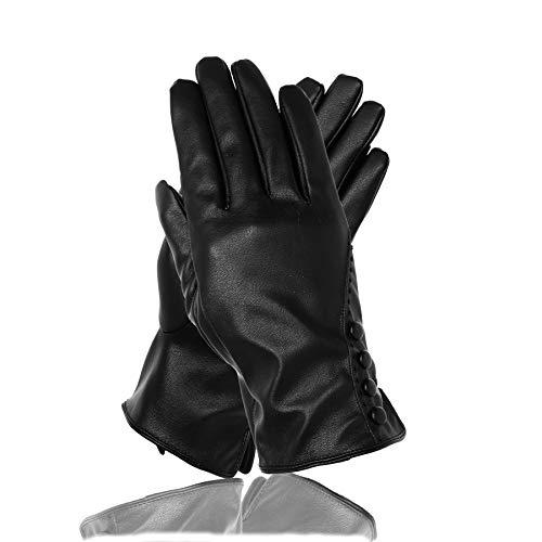 Soul Young Damen Touchscreen Texting Fahren Winter Warm Outdoor Leder Schwarz Handschuhe mit Luxuriöse eschenkbox -