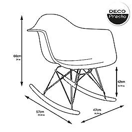 Decopresto 1 x Fauteuil à Bascule Rocking Chair Scandinave Haut. 48 cm Pieds: Bois Naturel Assise : Plastique Ultra…