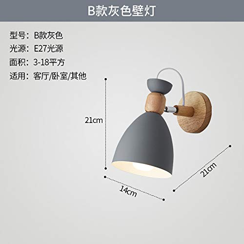 Lámpara de pared de pasillo de estudio de madera maciza con iluminación creativa B gris tricolor luz