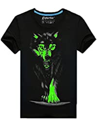 Herren Junge 3D Tshirt Wolf mit Leuchtstoff,leuchtet in der Dunkelheit (XL)