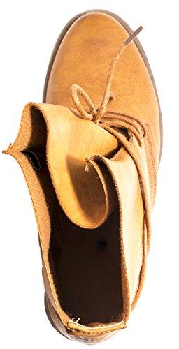 Elara Damen Stiefeletten | Bequeme Biker Boots | Lederoptik Schnürstiefeletten Camel Washington