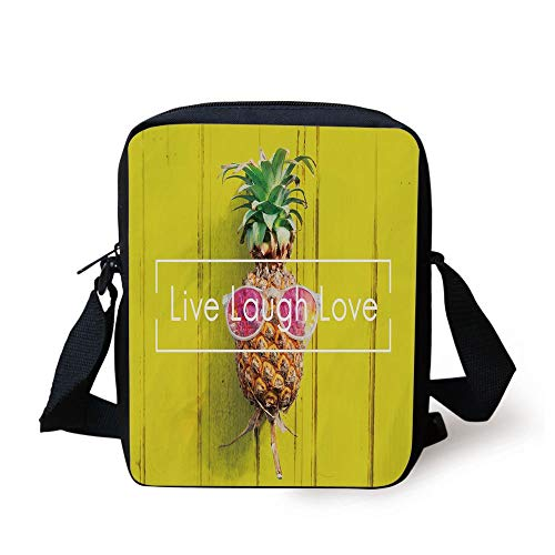 Live Laugh Love Decor,Tropical Pineapple with Sunglasses on Yellow Wood Board Joyful Print Decorative,Multicolor Print Kids Crossbody Messenger Bag Purse
