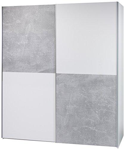Stella Trading Victor 2-Türiger Kleiderschrank, Holz, Weiß / Schachbrett Grau (Beton), Breite ca. 170 cm