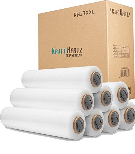 8x KRAFTHERTZ Premium Qualität Rollen Handstretchfolie 23 my x 500 mm x 300 Meter, Transparent, 300m, ca. 3,1 kg pro Rolle, SUPER PLUS