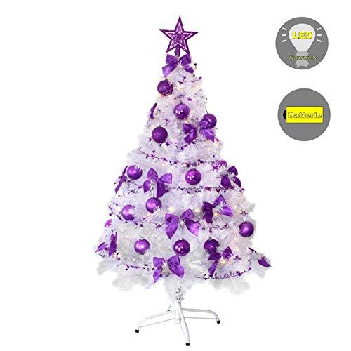 Baunsal GmbH & Co.KG Weihnachtsbaum Tannenbaum Christbaum künstlich 150 cm Weiss mit lila Dekoration geschmückt und Lichterkette mit Micro LEDs
