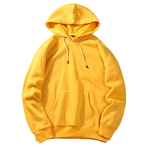 UJUNAOR Herren Langarm Hoodie T-Shirt Kapuzenshirt Mit Kapuze Männer Pullover in Vielen Farben(Gelb,2XL)