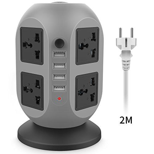 Bloc Prises, Bloc Droit 8 Prises et 4 Ports USB Câble de 2 m