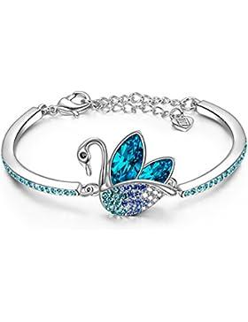 LADY COLOUR - Swan Dance - Schwan Armband Damen mit Blau Kristallen von SWAROVSKI® - The Nature Kollektion