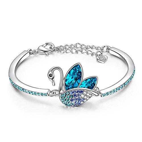 LADY COLOUR Schwan Armband Damen mit Blau Kristallen von Swarovski Schmuck muttertagsgeschenke Weihnachtsgeschenke geburtstagsgeschenke valentinstag geschenk