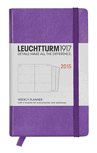 Leuchtturm1917 345329 Wochenkalender Pocket (A6) 2015 mit Extraheft für Adressen und Jahrestage, Englisch, lila