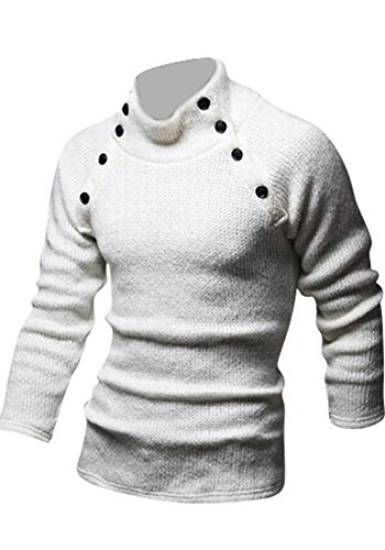 Jeansian Hommes Robe Pull Tendance Chemise Slim Fit Men Fashion Casual Sweater Shirt 8831 white