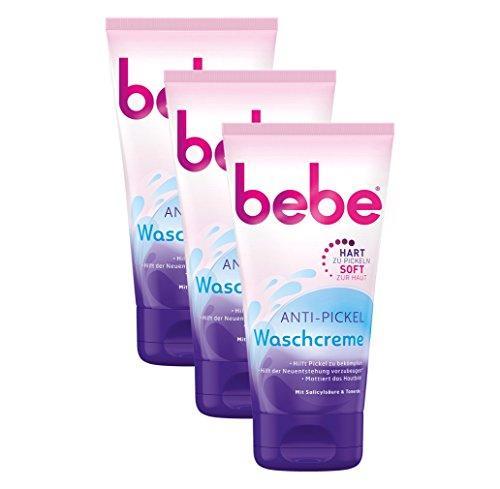 bebe Anti-Pickel Waschcreme mit 3-fach Wirkung - Sanfte Gesichtsreinigung gegen Pickel - Mit Salicylsäure & Tonerde - 3 x 150ml