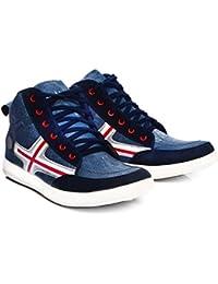 Shoe Island ® Raptor-X ™ Denim Navy Blue High Ankle Length Casual Shoes For Men