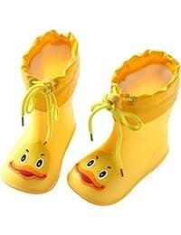 Saingace Water Shoes For Kids, Boys Girls Baby Cute Cartoon Duck Rubber Waterproof Detachable Drawstring Rain...
