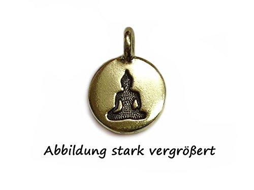 Charm Buddha 12mm rund vergoldet von Tierra Cast - Magic Cast