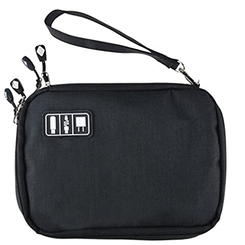 Ishop Cable Organizer Electronic Accessories Case USB Drive Double Layer Bag