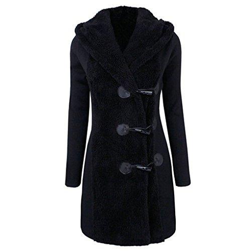 Schöne Menschen Kleidung (Frauenkleidung❀❀ JYJMWomen Fashion Winter Plus Thick Warm Buttons Coat Overcoat Parka Hoodie Outwear (2XL, Schwarz))