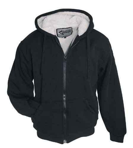 Super chaud sherpa veste sweat veste avec doublure en sherpa (imitation peau de mouton-couleur: noir-taille xL