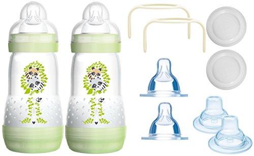 MAM das mitwachsende Flaschen Set - Anti Colic Flaschen, Sauger, Griffe, Schnäbel - 10 teilig - Grün