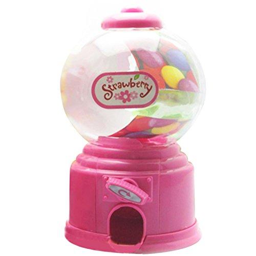 Gosear Mini Máquina Expendedora de Habas de Jalea Chicles Gomitas Azúcar Caramelo de Gumball / Dispensador de Snack para Novedad Fiesta Cumpleaños Regalo Juguetes para Niños,Rosa