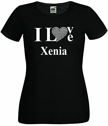 T-Shirt I Love Xenia mit einer Strassaplikation / Strassherz Weiß