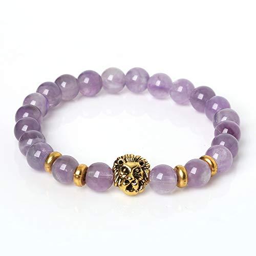 mband,Lila Armband Antique Lion's Head Armband, Naturstein Bead Armband Liebhaber, Reisen, Party, Geburtstag, Mädchen ()